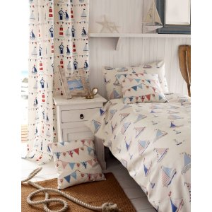 BEACH HUTS READY MADE CURTAINS pencil pleat top