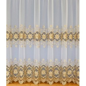 ELIZA WHITE/GOLD EMBORIDERED VOILE