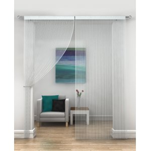 WHITE STRING CURTAINS PRICED PER PAIR EACH PANEL 230CM DROP X 95WIDE