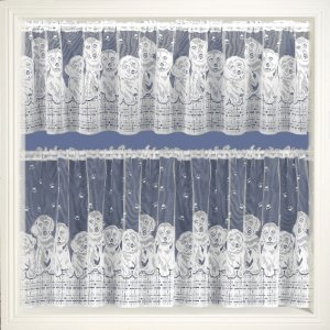 DOGS WHITE CAFE CURTAIN PRICED PER METRE