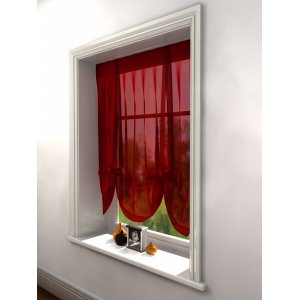 RED VOILE TIE BLIND 140CM WIDE X 137CM DROP