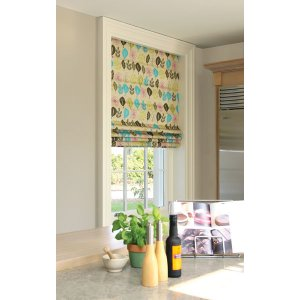 ROMAN BLIND LEAF LINES LIME & TEAL MADE TO YOUR EXACT SIZE PLEASE PHONE OR EMAIL FOR PRICE