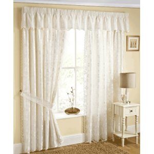 FELICITY LACE NATURAL LINED CURTAINS  WITH TIE BACKS VALANCE  SOLD SEPARATE discontinued design