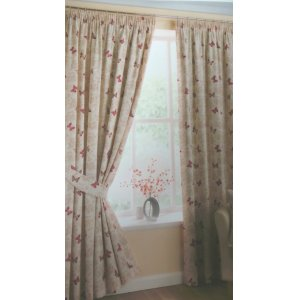marioposa by belfield RED 100% COTTON CURTAINS EYELET OR PENCIL PLEAT OPTION FULLY LINED