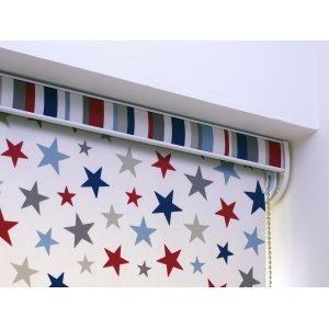 OLD MILL STARS BLUE ROLLER BLIND PLEASE RING FOR PRICE OR EMAIL
