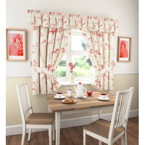 LOGAN RED CURTAINS VALANCE SOLD SEPARATE