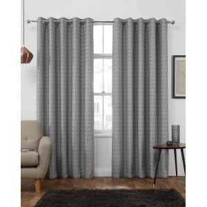 Luton Charcoal  eyelet top curtains Themal  interlined