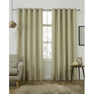 Luton Citron eyelet top curtains Themal  interlined