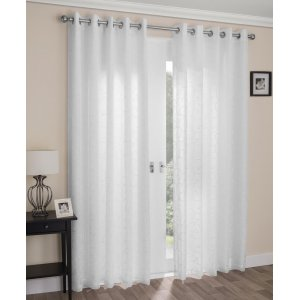 Exeter white  voile lined eyelet curtains