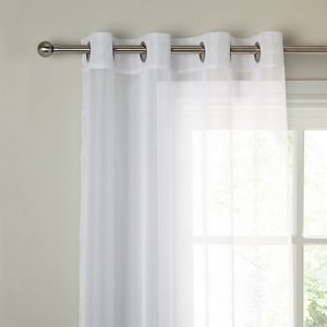 Montanana plain white voile with lead weighted base made with eyelet top