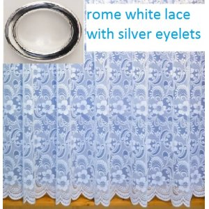 ROME WHITE LACE WITH SILVER EYELET TOP