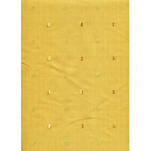 Gold faux silk fabric with small gold embroidered squares