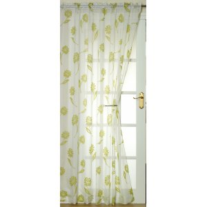 Sicily white voile with lime flocked floral design