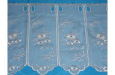 BELLA WHITE EMBROIDERED VOILE CAFE CURTAIN