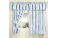 MAISY BLUE  GINGHAM CURTAIN SET(pelmet sold separte)