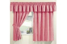 MAISY RED GINGHAM CURTAINS (PELMET SOLD SEPARATE)