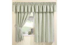 MAISY GREEN GINGHAM CURTAINS(PELMET SOLD SEPARATE)