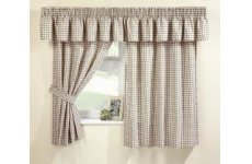 MAISY NATURAL GINGHAM CURTAINS(PELMET SOLD SEPARATE)