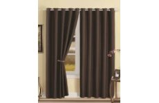 LUNA EYELET TOP FAUX SILK BLACKOUT LINED CURTAINS