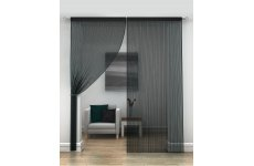 BLACK STRING CURTAINS PER PAIR