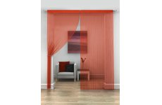 RED STRING CURTAINS PRICED PER PAIR EACH PANEL 230CM DROP X 95CM WIDE