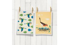 MAGPIE TEA TOWEL ROBIN & BLUE TIT