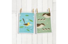 MAGPIE TEA TOWEL THRUSH & WAGTAIL