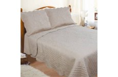 COFFEE  SCALLOPED SCROLL EMBOSSED  QUILTED BEDSPREAD double with 1 pair of pillow shams