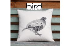 PARTRIDGE ILLUSTRATION SCREEN PRINTED CUSHION FILLED WITH DUCK FEATHER