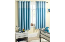 CHILDRENS BLUE GINGHAM THERMAL CURTAINS METAL NOISE  EYELET TOP SOLD PER PAIR