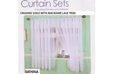 SIENNA CRUSHED VOILE MACRAME TRIM WINDOW SET