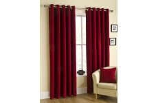 BELFIELD CHENILLE RICO WINE CURTAINS EYELET TOP PRICED PER PAIR
