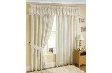 PATRICIA CREAM LACE LINED CURTAINS WITH PENCIL PLEAT HEADING TOP  VALANCE SOLD SEPARATE