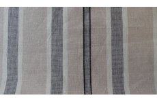 LIQUORICE STRIPE CREAM FABRIC WITH BLACK STTIPES 140CM WIDE PRICE IS PER METRE