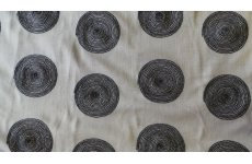 KABIR FABRIC 140CM WIDE CREAM WITH BLACK EMBROIDERED SWIRLS PRICE IS PER METRE