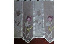SPRING WHITE CAFE CURTAIN WITH MAUVE  & GOLD COLOURS