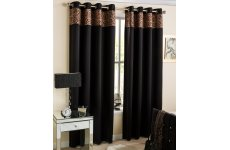 AFRICA BLACK EYELET TOP READY MADE CURTAINS