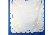 DESIGN NUMBER 2 EMBROIDERED WHITE TABLECLOTH