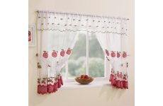 WAREHAM RED WINDOW SET WITH ATTACHED VALANCE