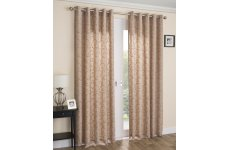 Exeter latte  voile lined eyelet curtains