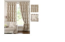 Beverley cream  Chenille pencil pleat curtains