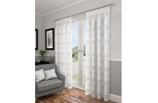 SWINDON WHITE VOILE WITH SILVER DESIGN CURTAINS