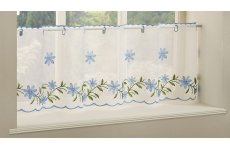 Torquay Blue embroidered cafe curtain panel