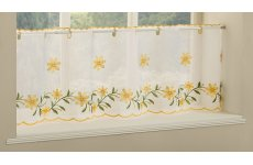Torquay Yellow embroidered cafe curtain