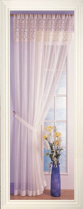 Marion Cream Voile Top Macrame Lace Panel Net Curtain 2