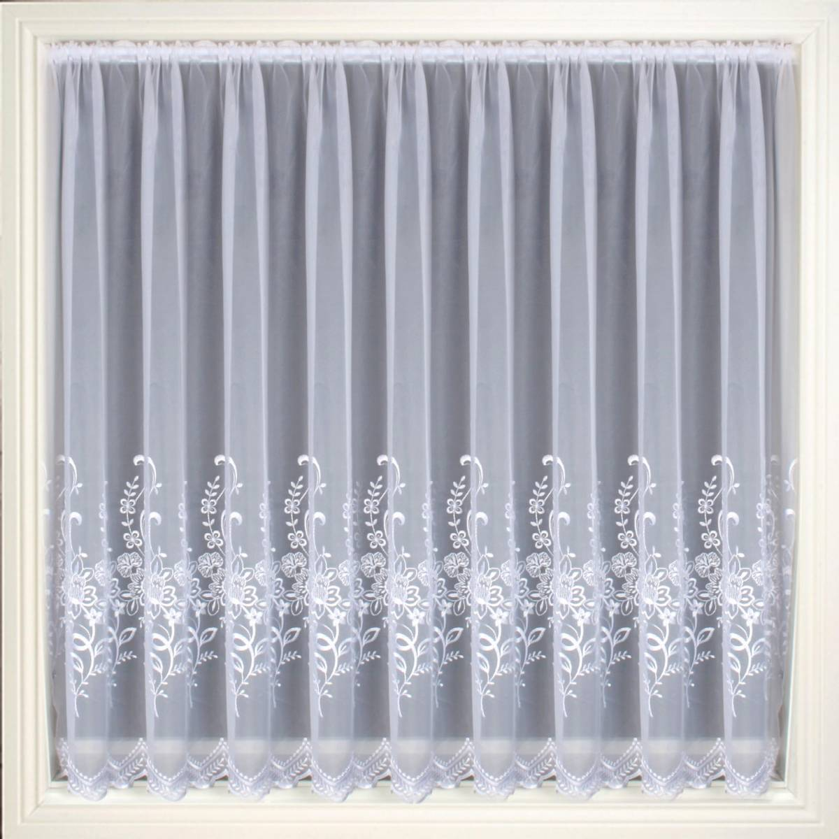 olivia white embroidered voile net curtain 2 curtains. Black Bedroom Furniture Sets. Home Design Ideas