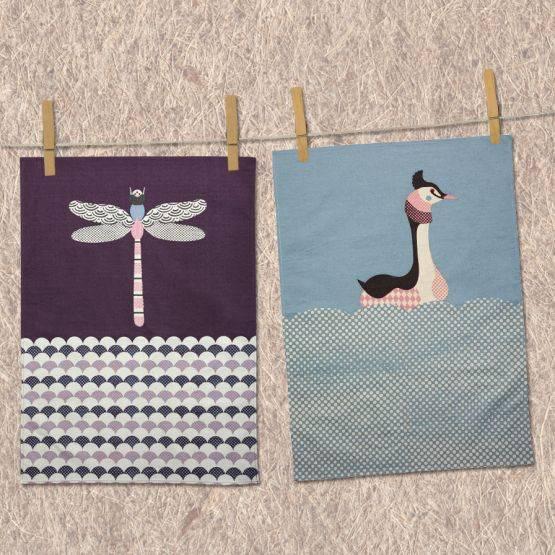 Tea Towel Kitchen Curtains: MAGPIE DRAGONFLY & GREBE TEA TOWEL