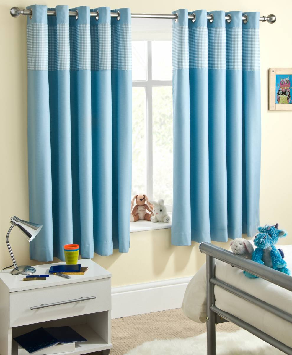 Childrens blue gingham thermal curtains metal noise eyelet for Childrens curtains uk