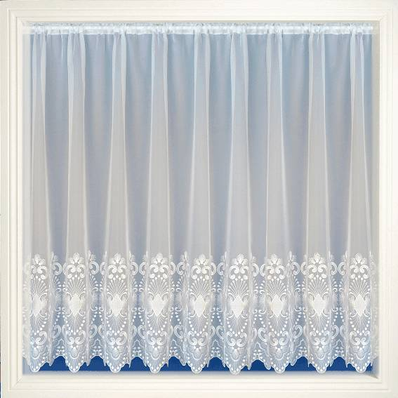Amanda White Embroidered Voile Net Curtain 2 Curtains