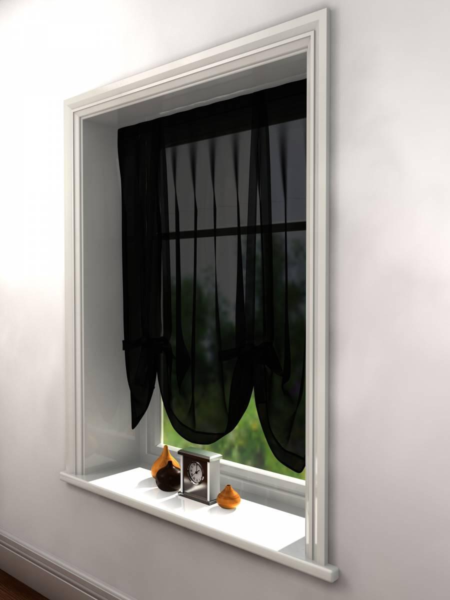 Black Voile Tie Blind 140cm Wide X 137cm Drop Net